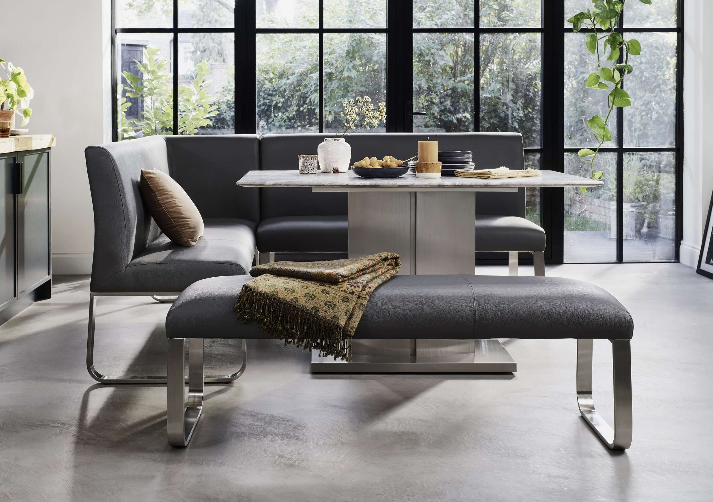 Cocoon Dining Table Left Hand Facing Corner Bench And Low Bench Dining Room Small Dining Set With Bench Divan Sets