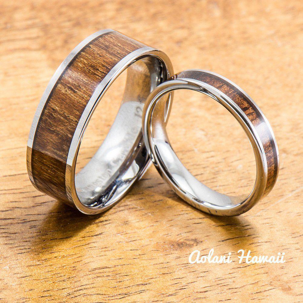 Wedding band set of tungsten rings with hawaiian koa wood inlay mm