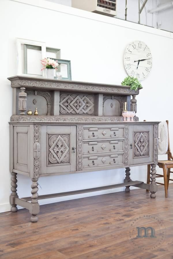 Gorgeous Painted Grey Buffet By Mango Reclaimed. Furniture Makeover Ideas. #vintageindustrialfurniture