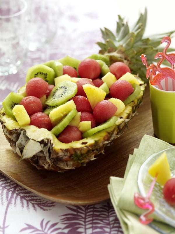 Deko Ideen Zur Grillparty 1002094 Ananas Mit Obstsalat - Grillparty Ideen Deko
