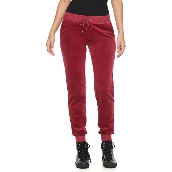 Women's Juicy Couture Solid Velour Jogger Pants ($20) ❤ liked on Polyvore featuring pants, red, mid rise pants, red trousers, drawstring pants, red jogger pants and print pants