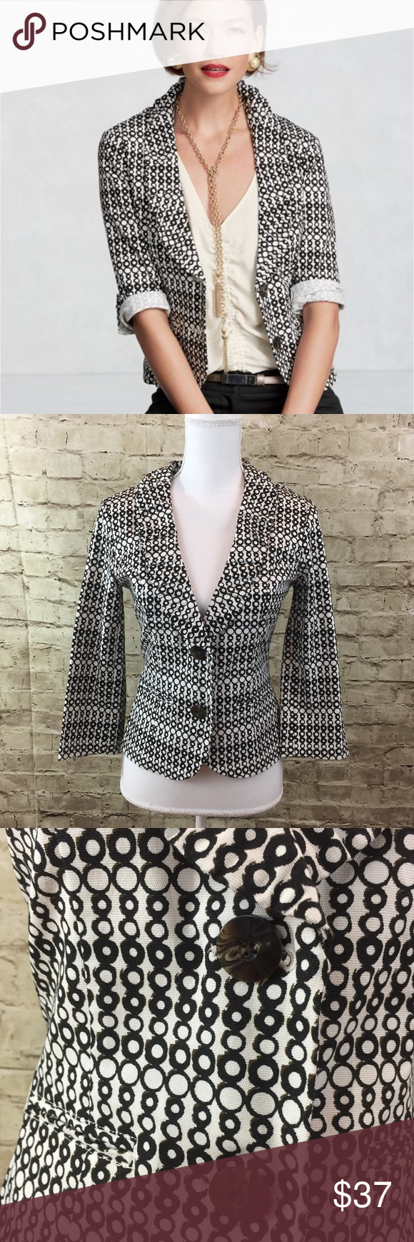 """CAbi De Jour Jacket Blazer Spring collection 2013 • Super cute black and white polka dot jacket with ruffle neckline can be dress up or down, very versatile • excellent preowned condition • cotton spandex • approximate measurements bust 17.5"""", length 21"""", sleeve length 12.25"""" CAbi Jackets & Coats Blazers"""