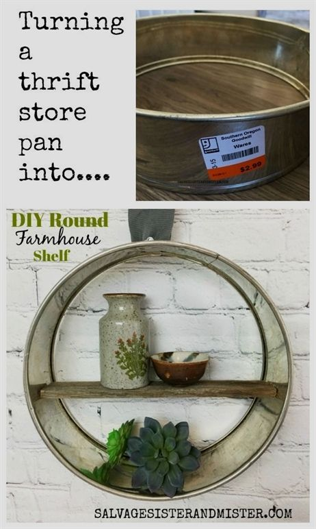 Thrift Store DIY Farmhouse Round Shelf #thriftstoreupcycle