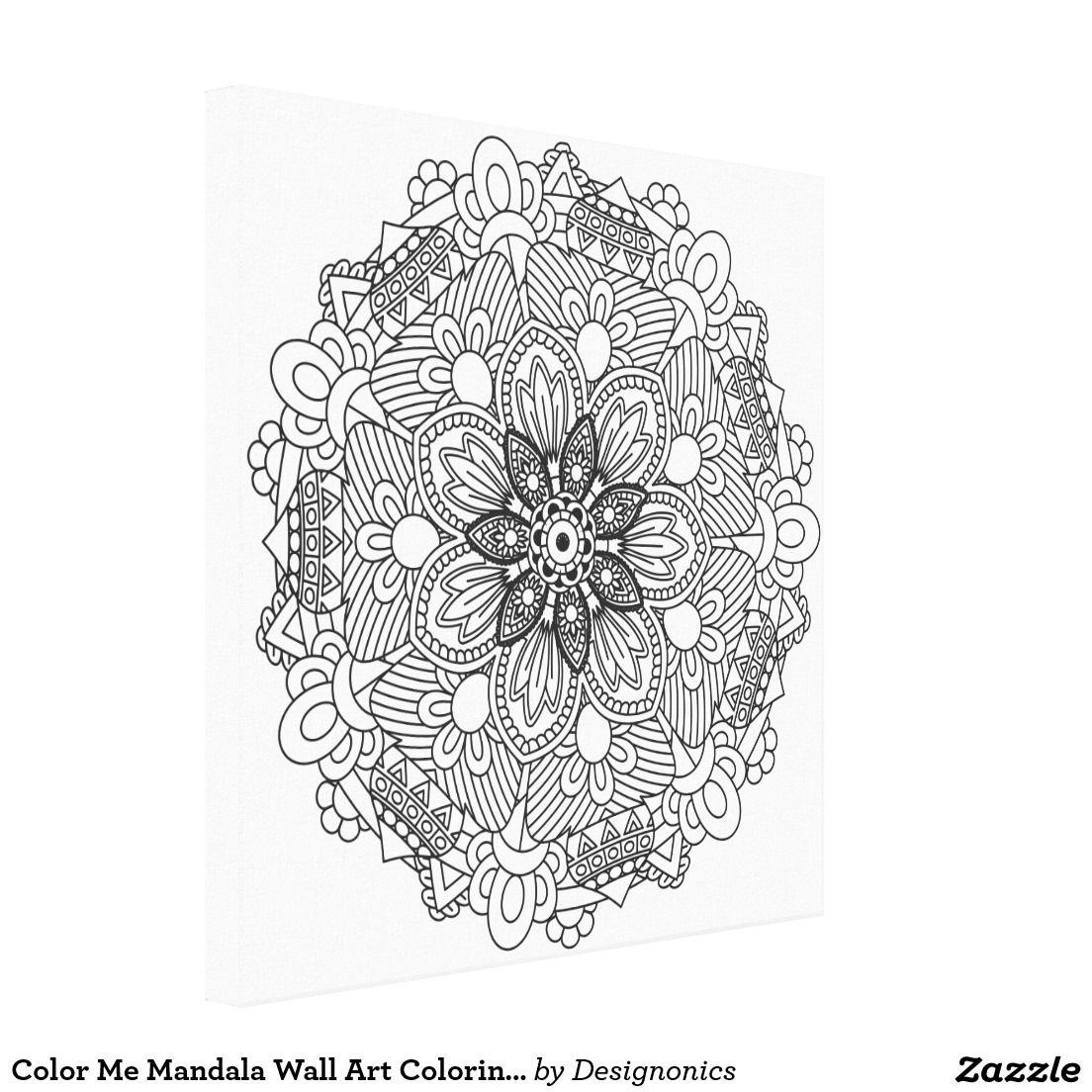 Color Me Mandala Wall Art Coloring Canvas Designonics Coloring