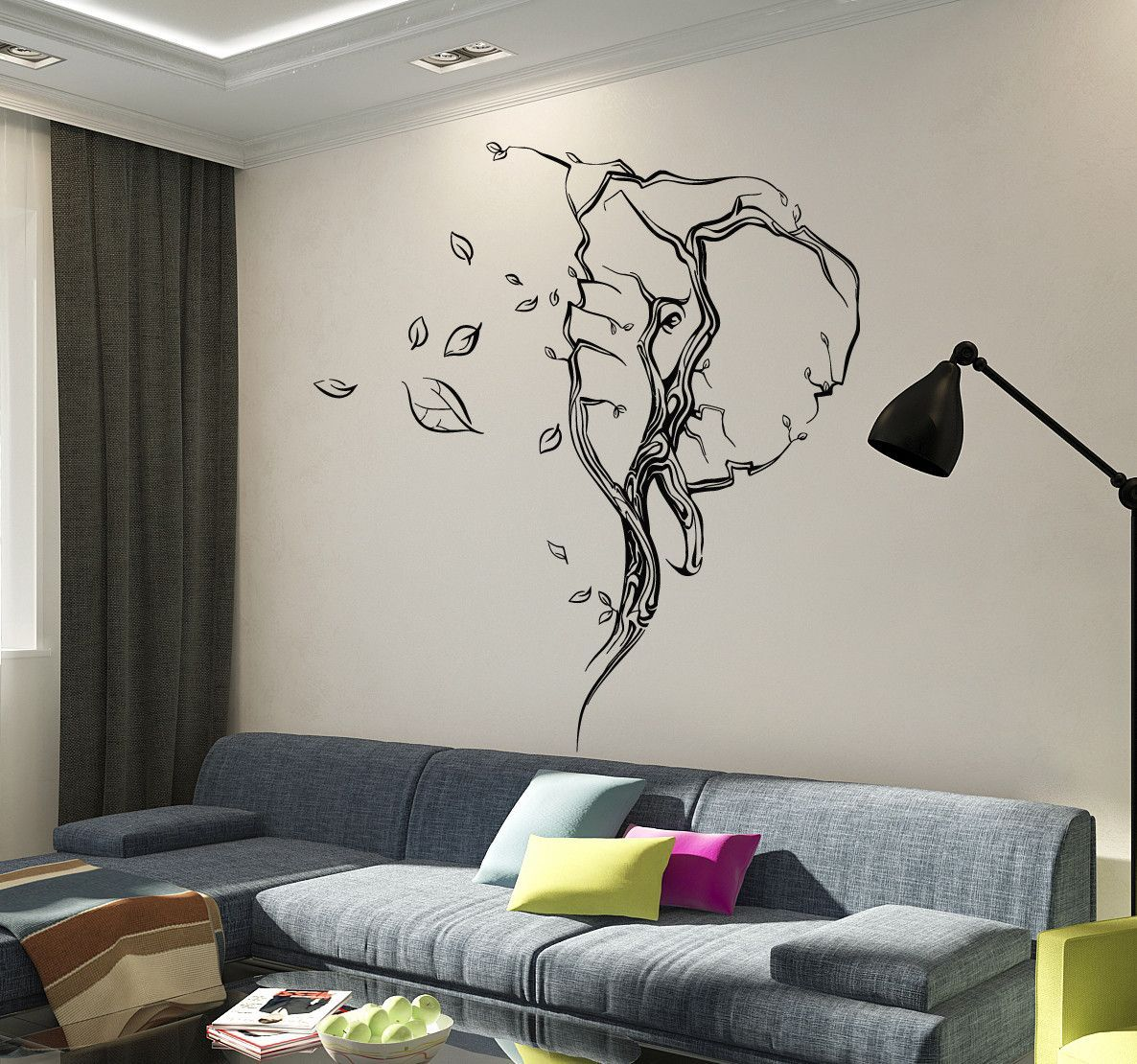 vinyl wall decal abstract elephant head leaves animal stickers vinyl wall decal abstract elephant head leaves animal stickers ig4100