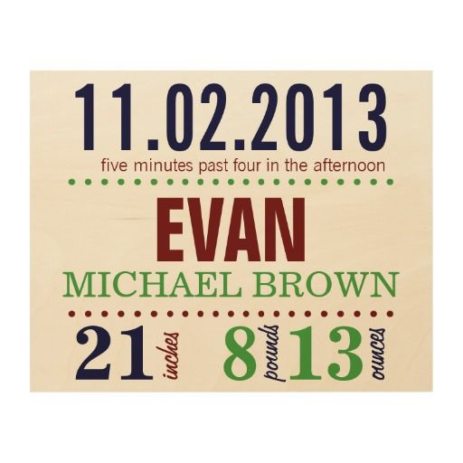 Baby's Birth Date Details - Sport Wood Canvas