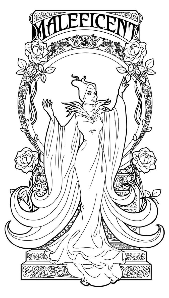 Maleficent art nouveau lineart by paolatosca coloring pages