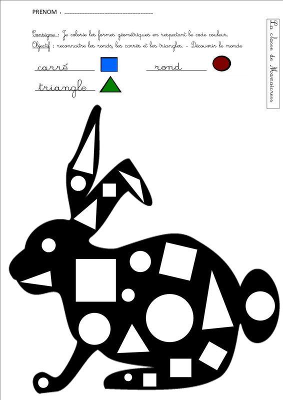 lapin reconnaissance formes g om triques fiche sur animaux pinterest formes geometrique. Black Bedroom Furniture Sets. Home Design Ideas