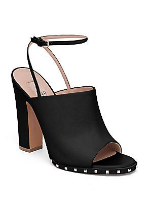Valentino Soul Rockstud Leather Ankle-Strap Mules AED 3733.65