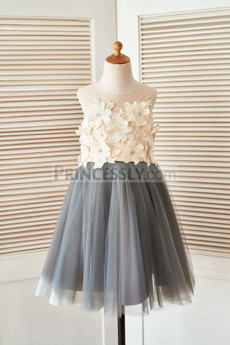 Sheer Illusion Neck Gray Tulle Wedding Flower Girl Dress With