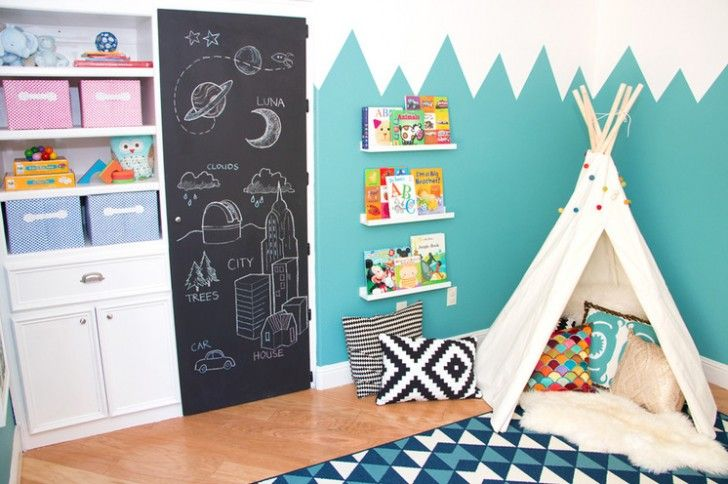 Kids Room, Chalkboard Door Unique Zigzag Blue And White Wall White Teepee White Cupboard With Open Shelves Hardwood Flooring Blue Geometrical Rug Colorful Pillow Metallic Pillow Bue And Pink Basket Cases ~ Easy Steps to Make Special Decorations for Kids' Room