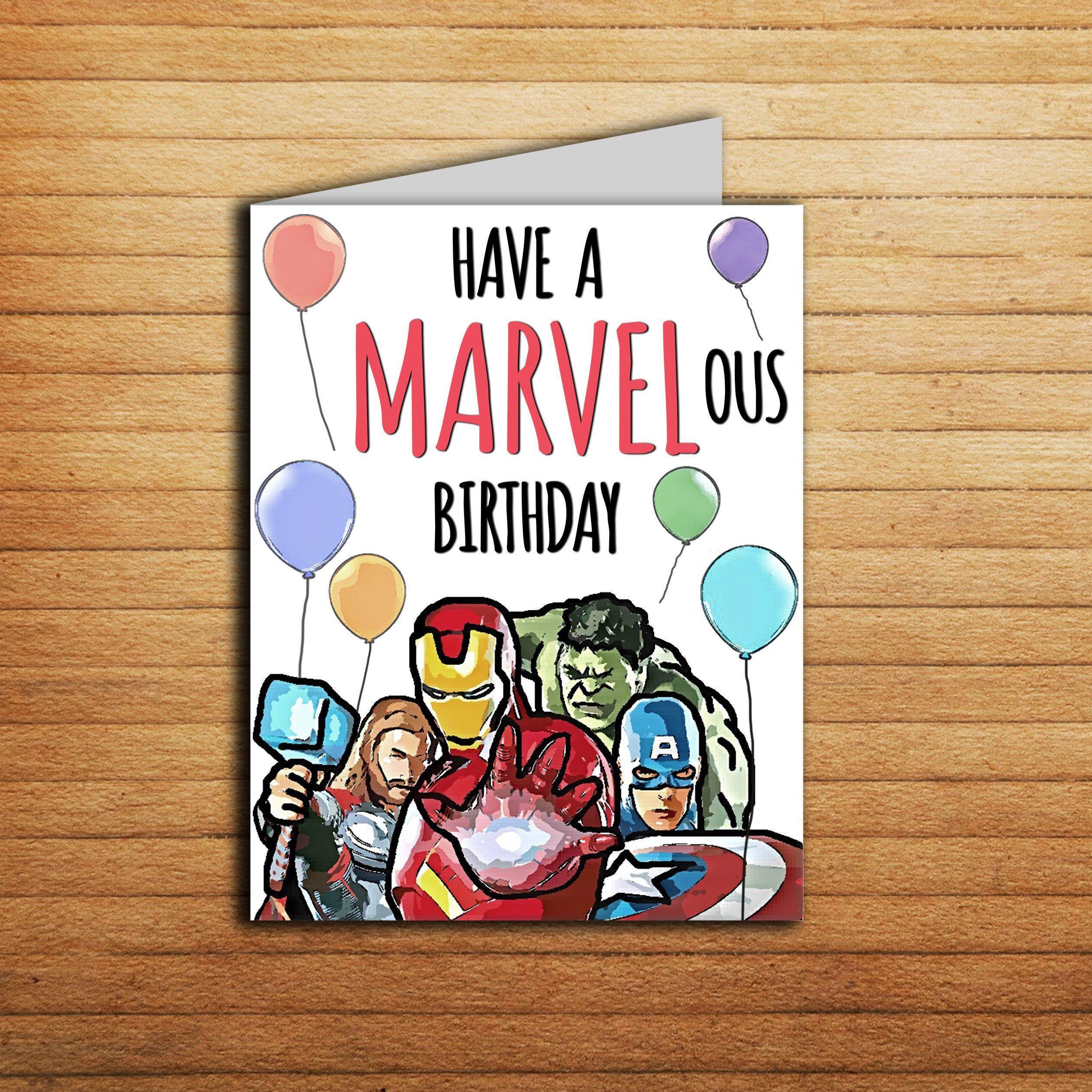 Avengers Birthday Card Marvel Birthday Card Printable Iron Man