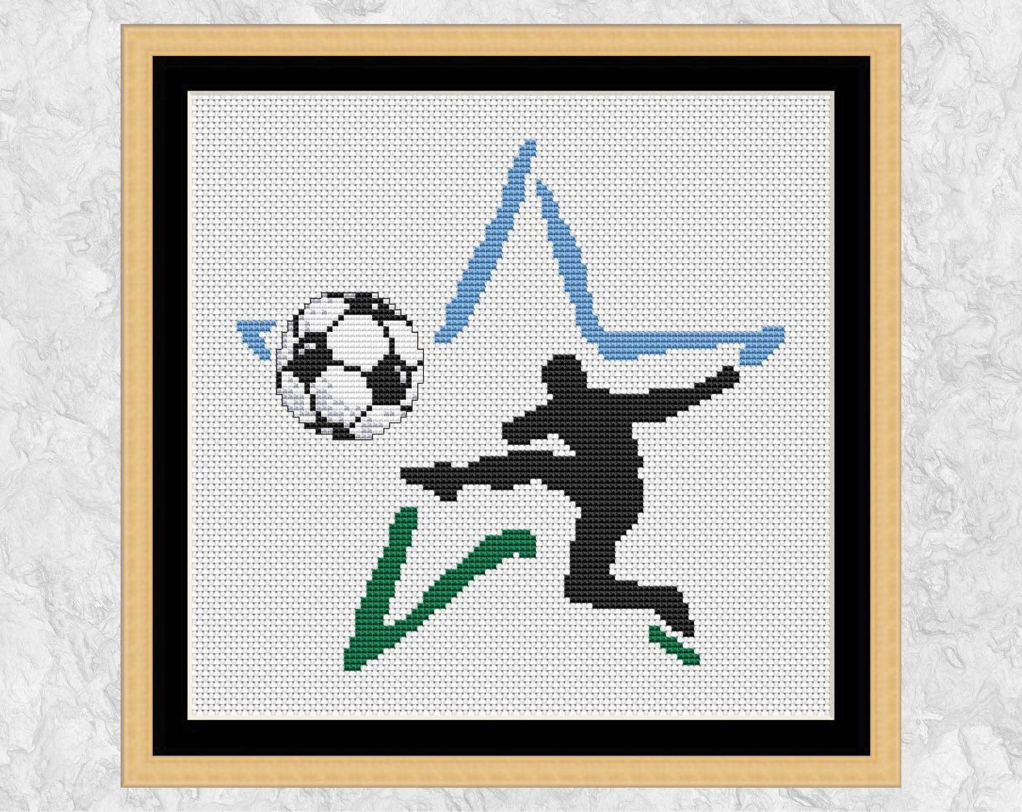 Football star cross stitch pattern modern soccer sport