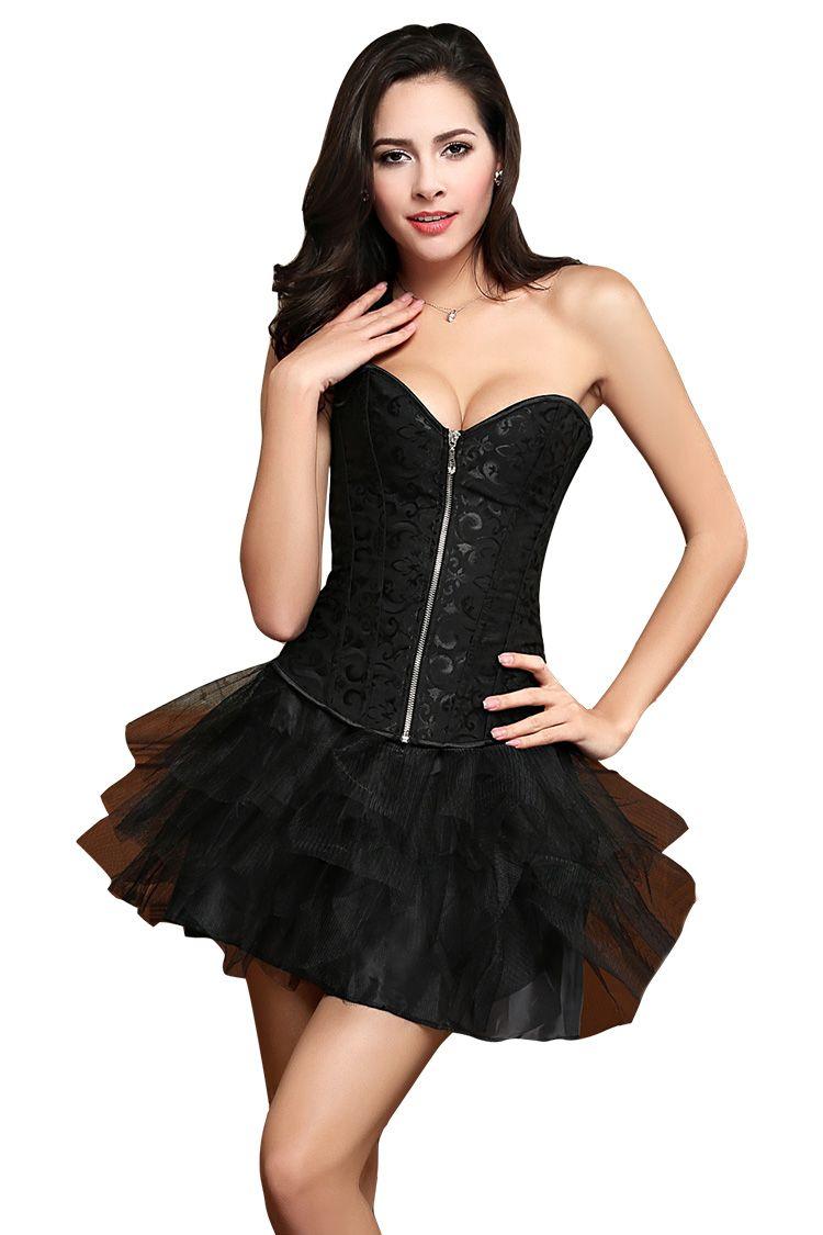 Bride waist training corset steel boned bustier black in