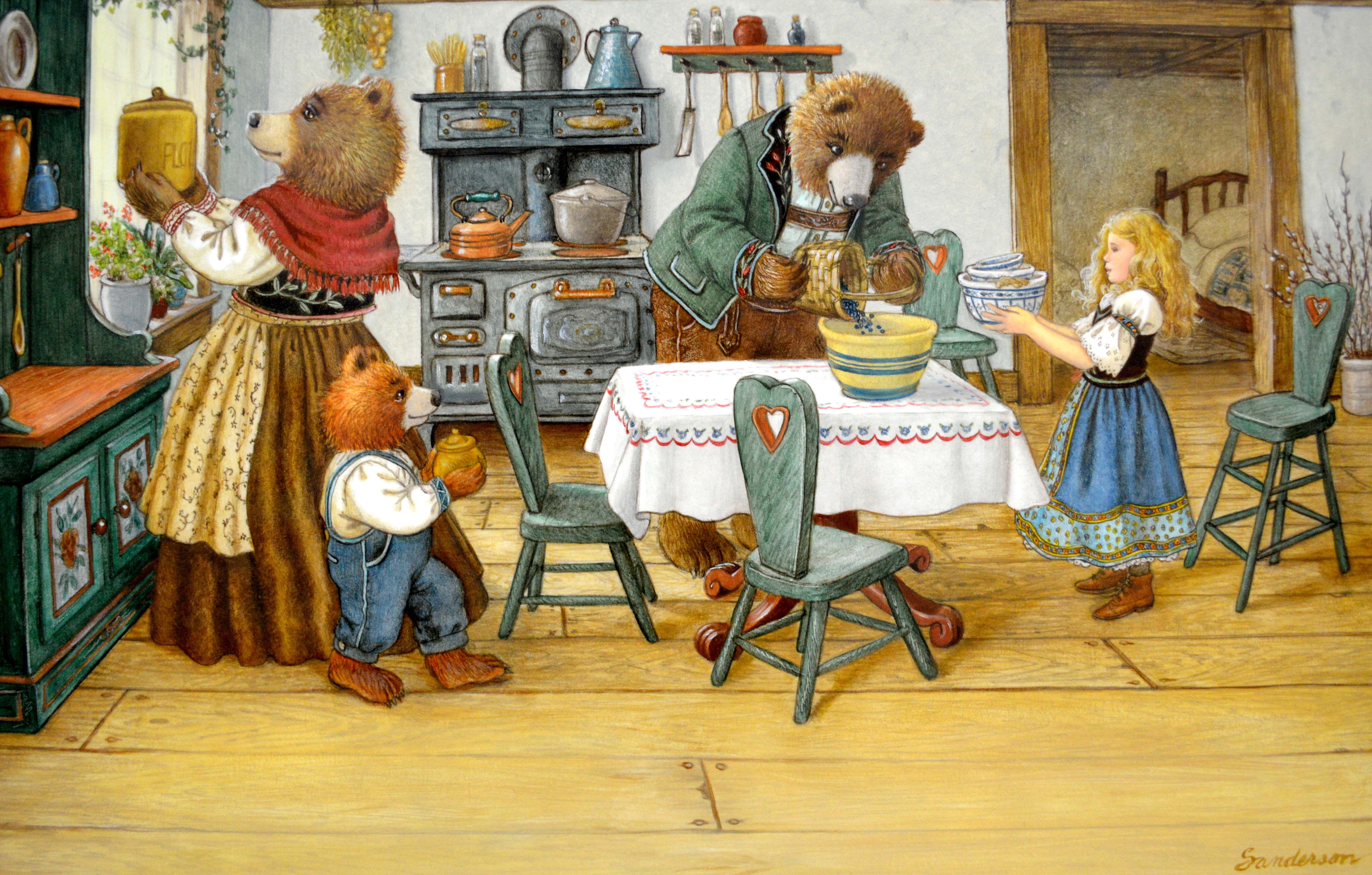 Making Muffins Original Oil Painted Illustration From