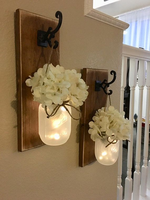 Photo of Rustic Mason Jar Sconce With Lights, Mason Jar Decor, Mason Jar Wall Decor, Distressed Wood Sconce, Lighted Mason Jar Sconce, Home Decor, Country