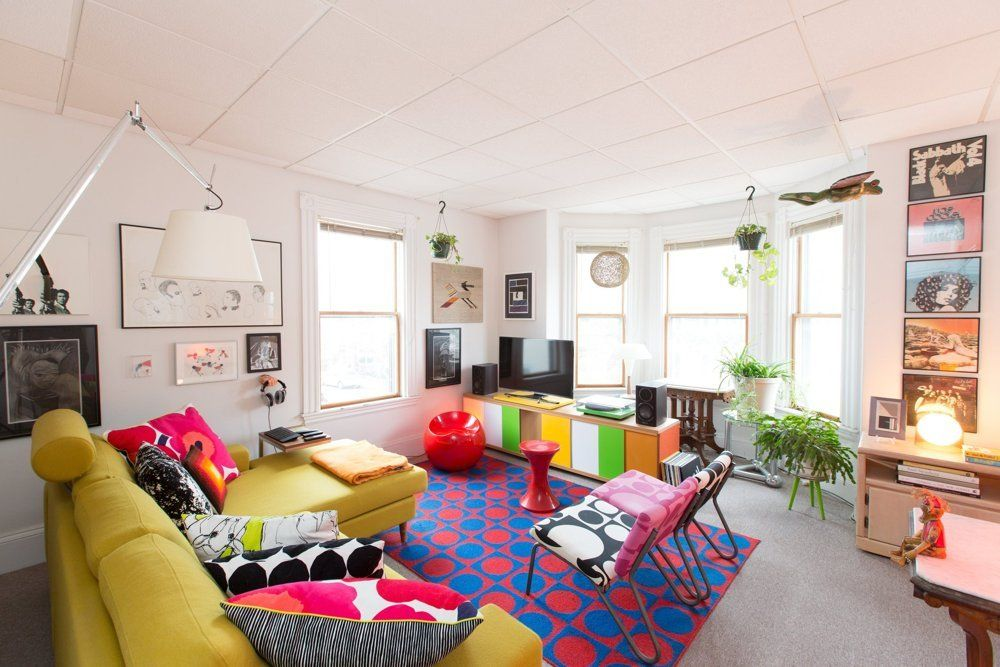 Tour A Colorful Maximalist MiniMuseum In Massachusetts Living Stunning 1 Bedroom Apartments In Cambridge Ma Ideas Decoration