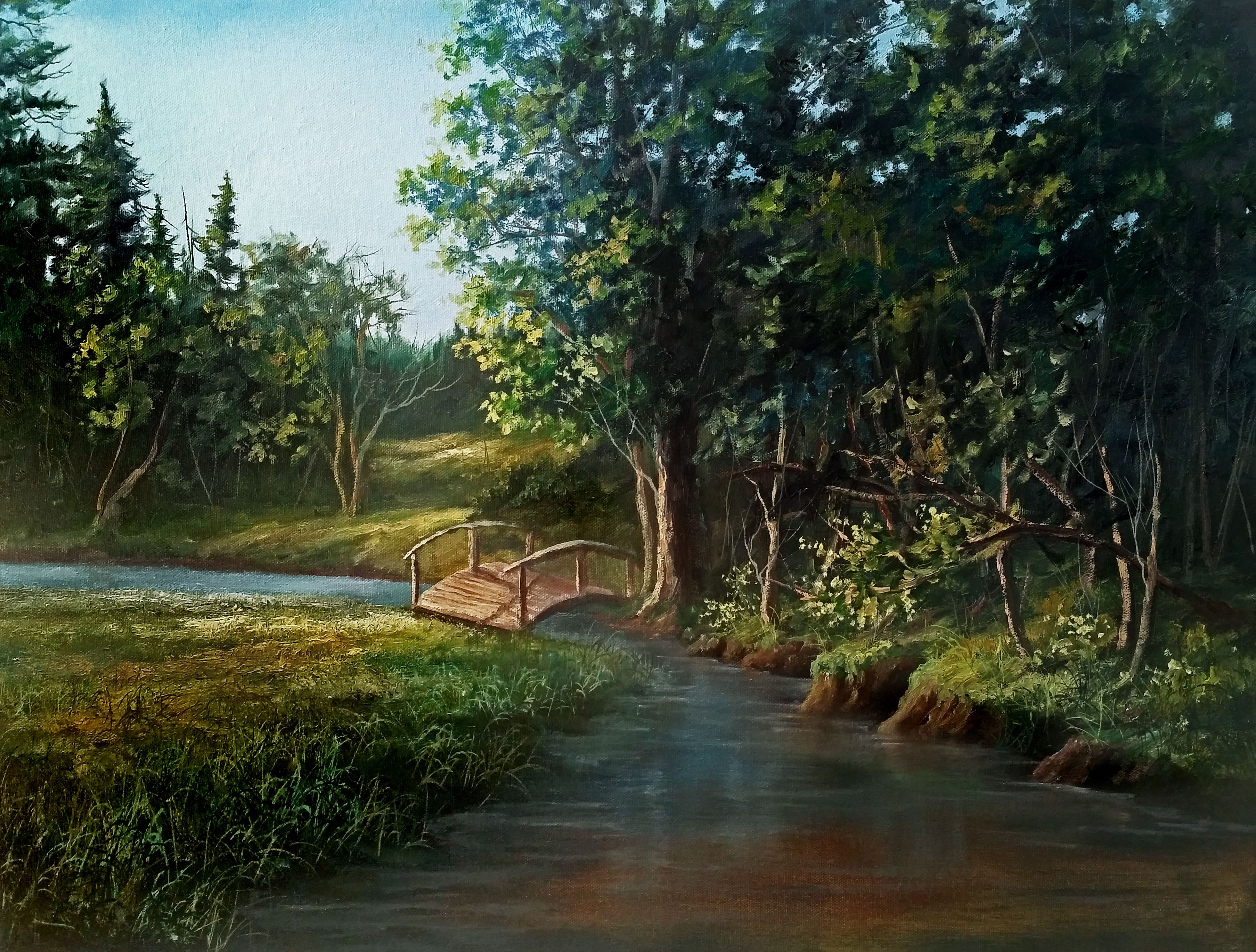 Bridge Over The Creek Oil Painting By Kevin Hill Watch Short Oil Painting Lessons On Youtube Kevinoilp Kevin Hill Paintings Landscape Oil Painting Landscape