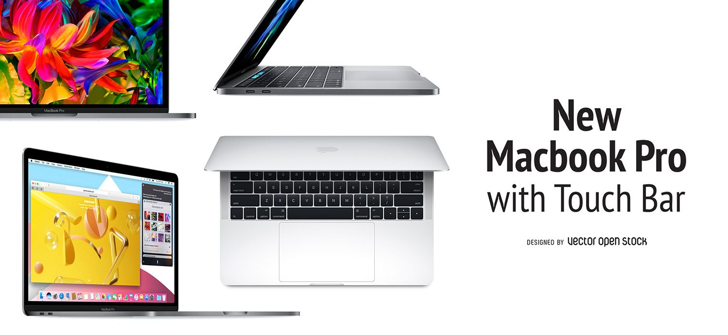 Banner Or Header Design Featuring Multiple Views Of The New Macbook Pro With Touch Bar