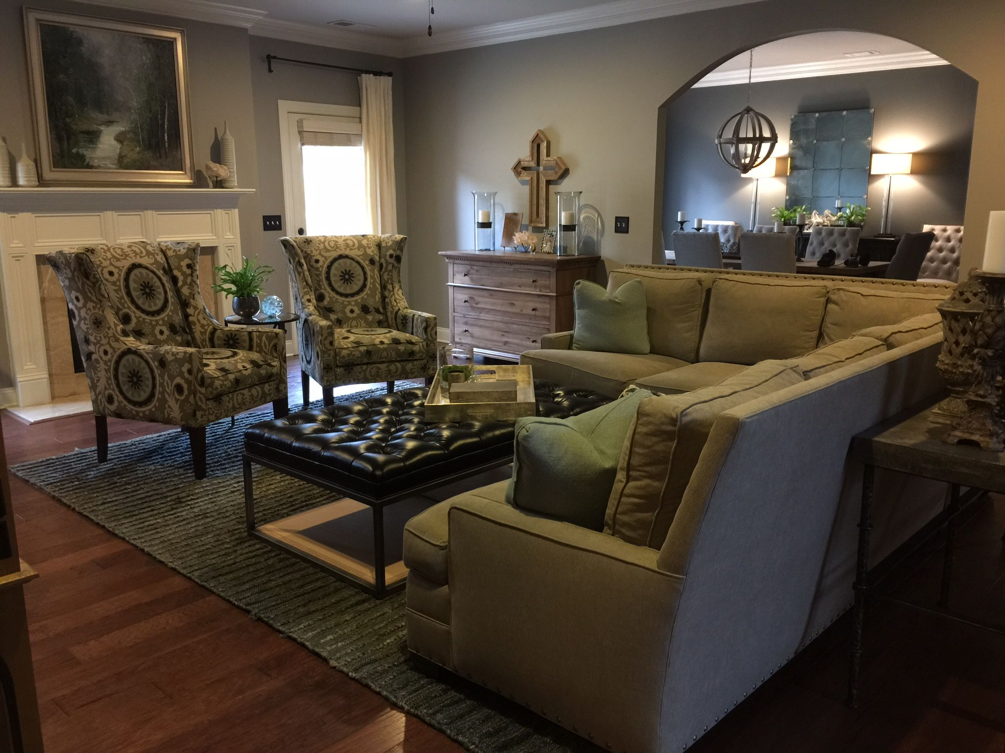 """Rustic contemporary family room Wall paint color """"Stone Harbor"""
