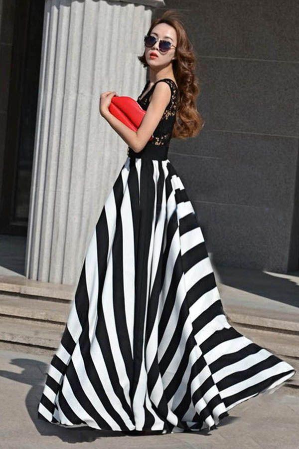 af5ae2a08619 Black White Stripe Lace Bodice Maxi Dress | Street: Lookbook In ...