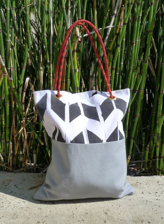 Hand painted canvas tote bag with rope by GeometricElectric, $50.00
