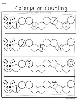 CATERPILLAR COUNTING FREEBIE} COMMON CORE MATH FOR KINDERGARTEN ...