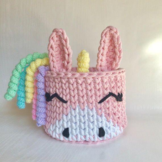 Crochet basket Unicorn | manualidades | Pinterest | Trapillo, Cesto ...