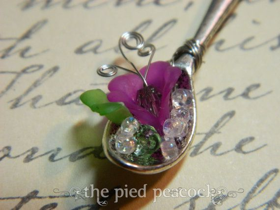 Fairy Garden Spoons Silver Spoon Necklace with Tiny by piedpeacock, $17.00