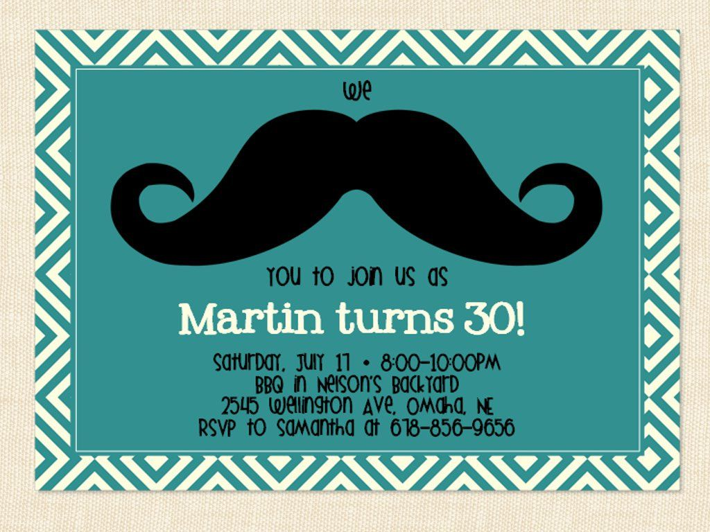 Men\'s birthday Invitation Mustache Printable by BusyChickadees ...