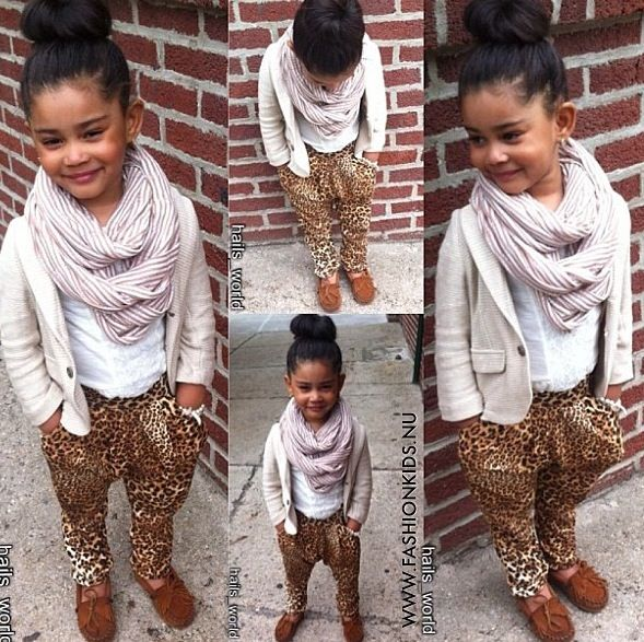 Too cute! Love the leopard pants and scarf