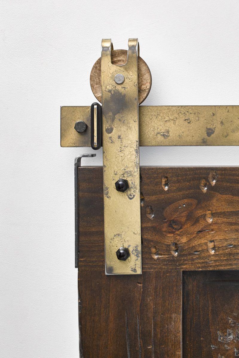 Showcase Your Style With The Garrick Industrial Barn Door Hardware Kit Featuring A Peekaboo Design For Barn Door Hardware Barn Door Sliding Barn Door Hardware