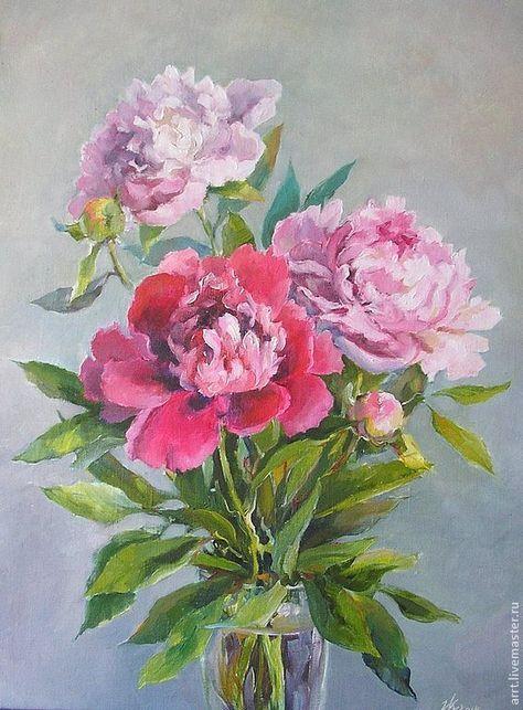 Купить Три розовых пиона Картина холст масло 27 на38см ...