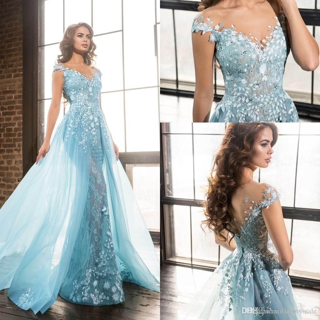 Light Sky Blue Zuhair Murad Evening Dresses Sheer Neck Short Sleeves Liques Lace Tulle Over Skirt Celebrity Formal Prom Myers