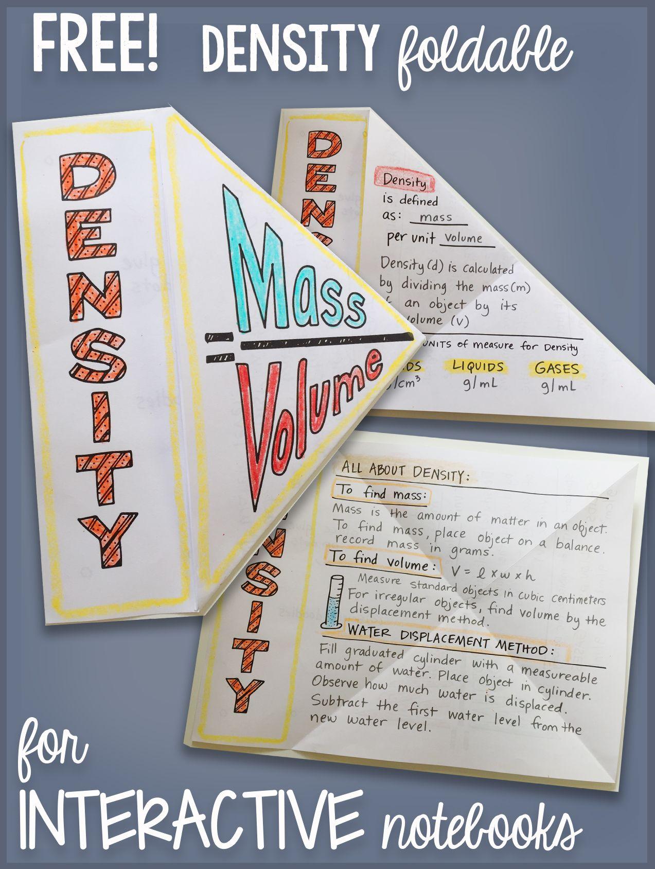 Free Density Interactive Notebook Science Doodle Bundle