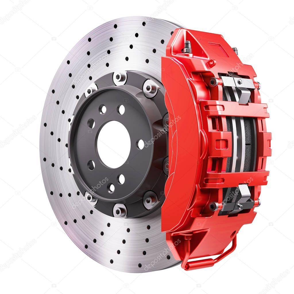 Car brakes mechanism disk and red caliper 3d render