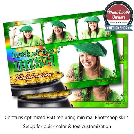 An Irish inspired photo booth template features a clover pattern background and a rainbow leading to a lucky pot of gold. Photos are framed with clover accents. This template is terrific for any Saint Patrick's Day or Irish event. All elements can all be easily color adjusted to compliment any taste or event. This design is arranged with 4 photos in a 3×1 layout.
