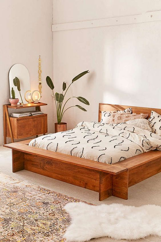 Urban Outfitters Modern Boho Platform Bed Frame Interior, bedroom - dream massivholzbett ign design