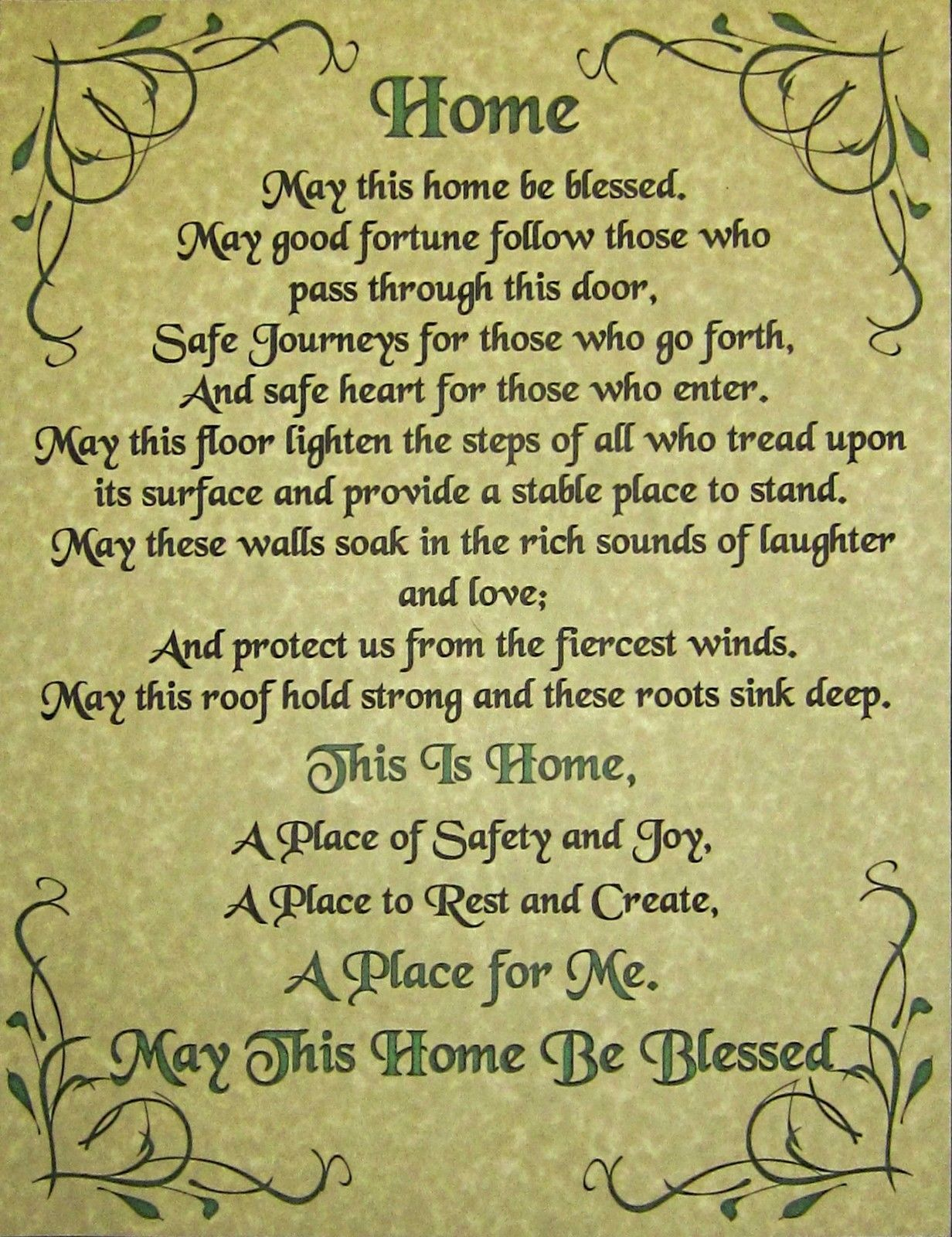 House Blessing Poster Page New Age Prayer BOS Book of