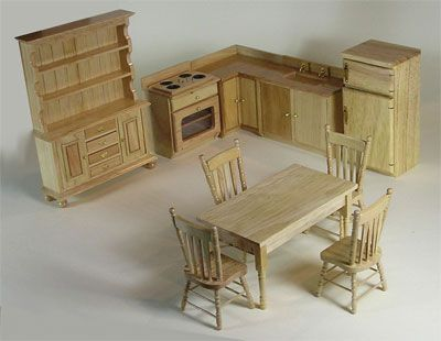 Pine Kitchen Dolls House Furniture Set