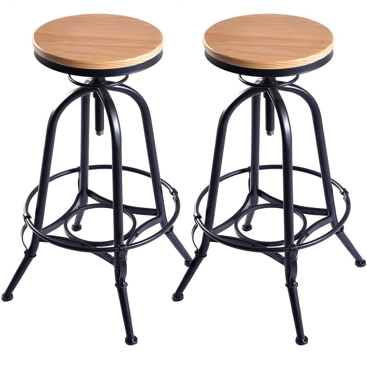 Costway Vintage Bar Stool Metal Frame Wood Top Adjustable Height Swivel Industrial 2bar Stools Vintage Bar Stools Wood Bar Stools Bar Stools