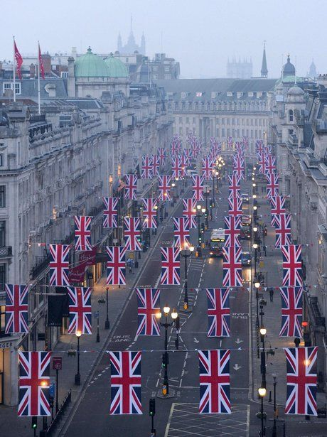Regent Street, London, decorated for the royal wedding of William & Kate
