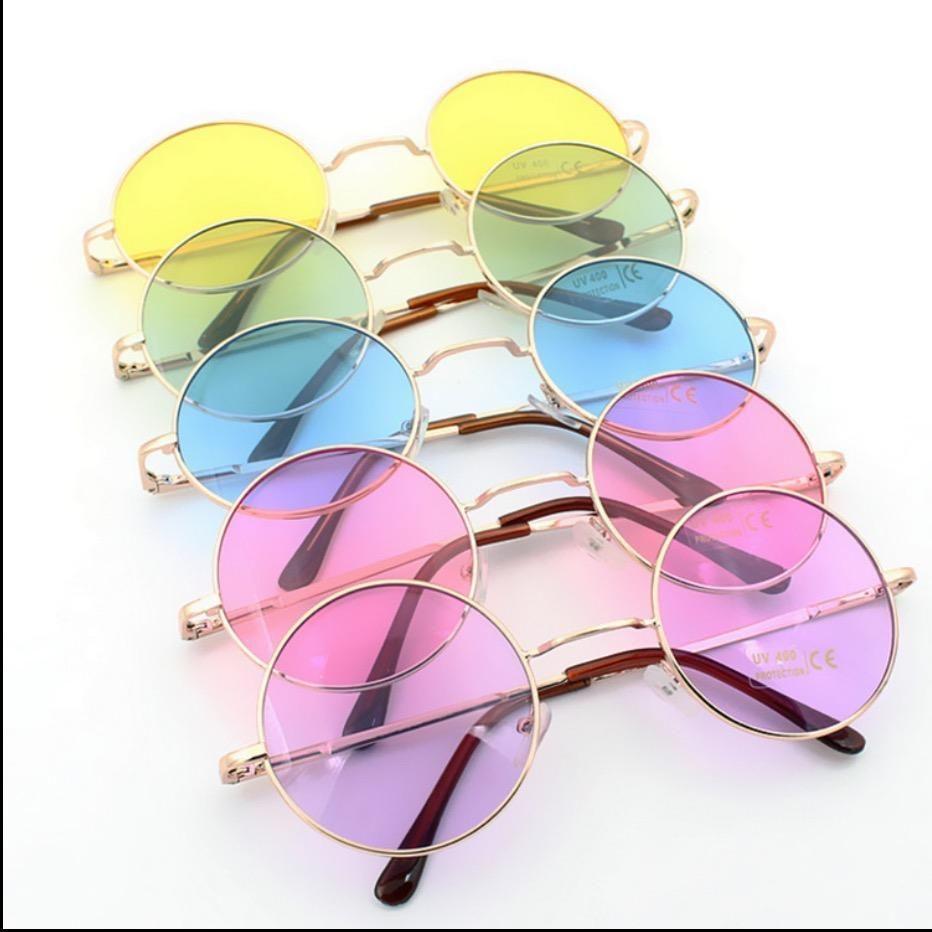 Retro Oculos De Sol Femininos Multi Transparent Color Round Sunglasses  Glasses Hippie Shades Lennon… ce7e89e2315b