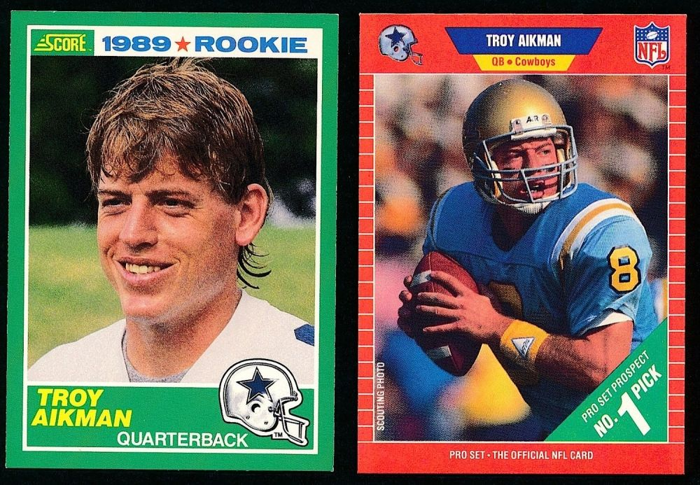 Troy Aikman Football Card Lot Of 2 Troy Aikman Rookie