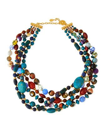 Chunky+Multi-Stone+Necklace,+Blue+by+Jose+&+Maria+Barrera+at+Neiman+Marcus.