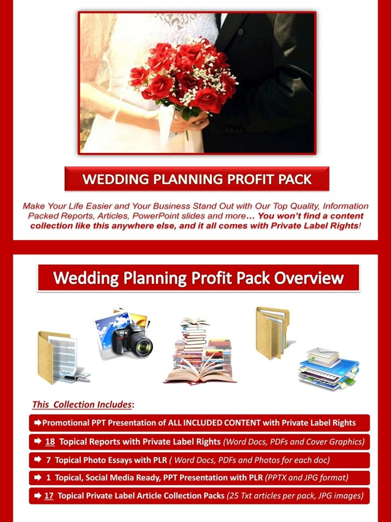 wedding planning plr profit pack quality value packed and