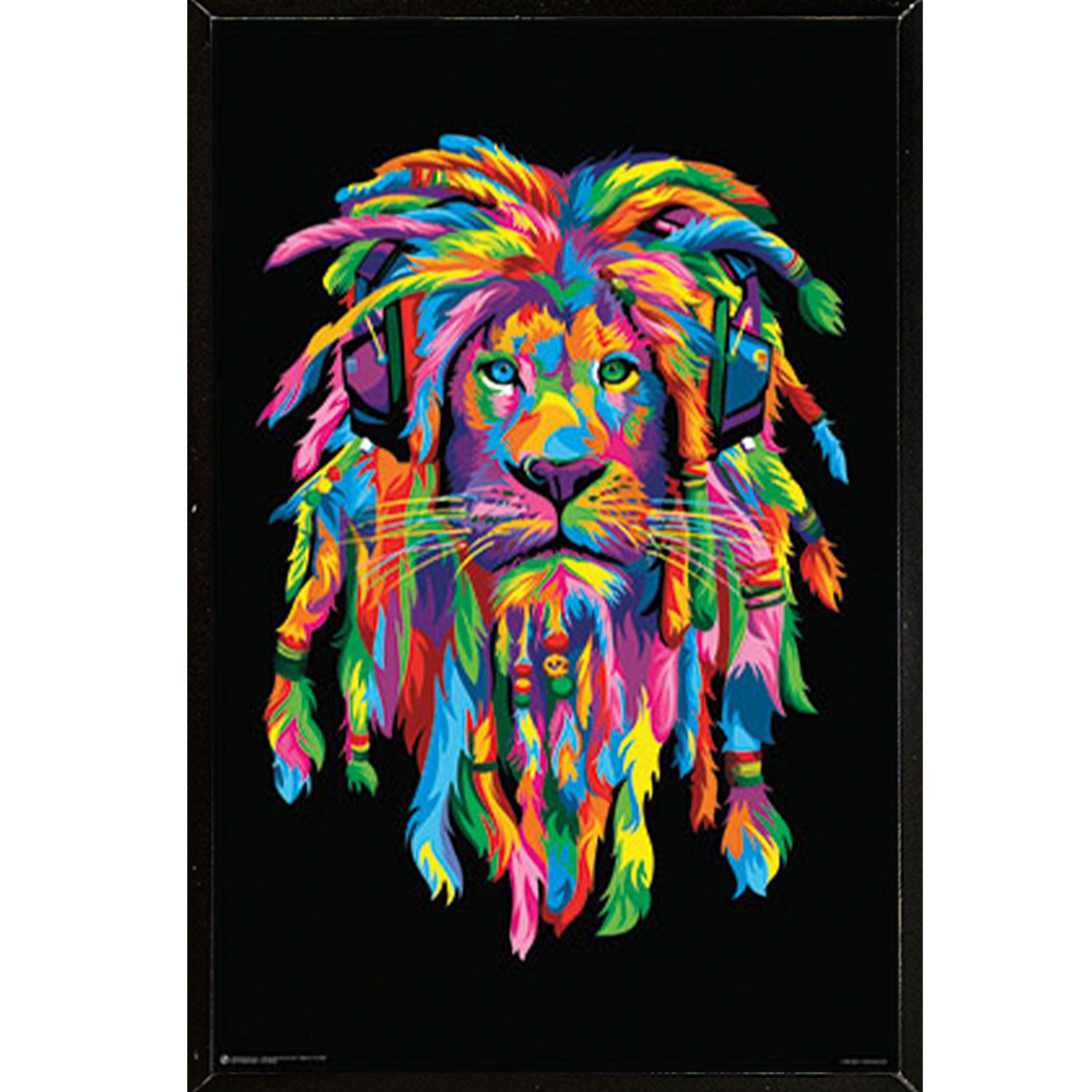 USA Lion Rasta Multicolored 24-inch x 36-inch Wall Plaque ...