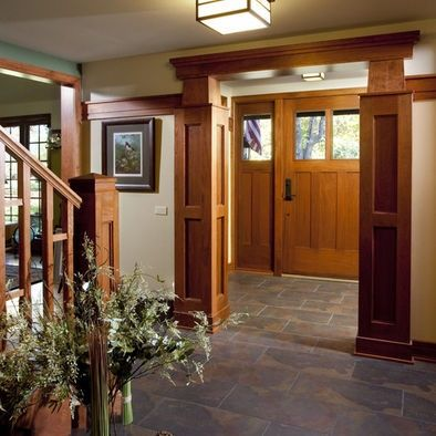 Love the corner molding treatments for the doorway here (and almost all of the rest of the trim).  Fantastic Craftsman style entrance. #craftsmanstylehomes