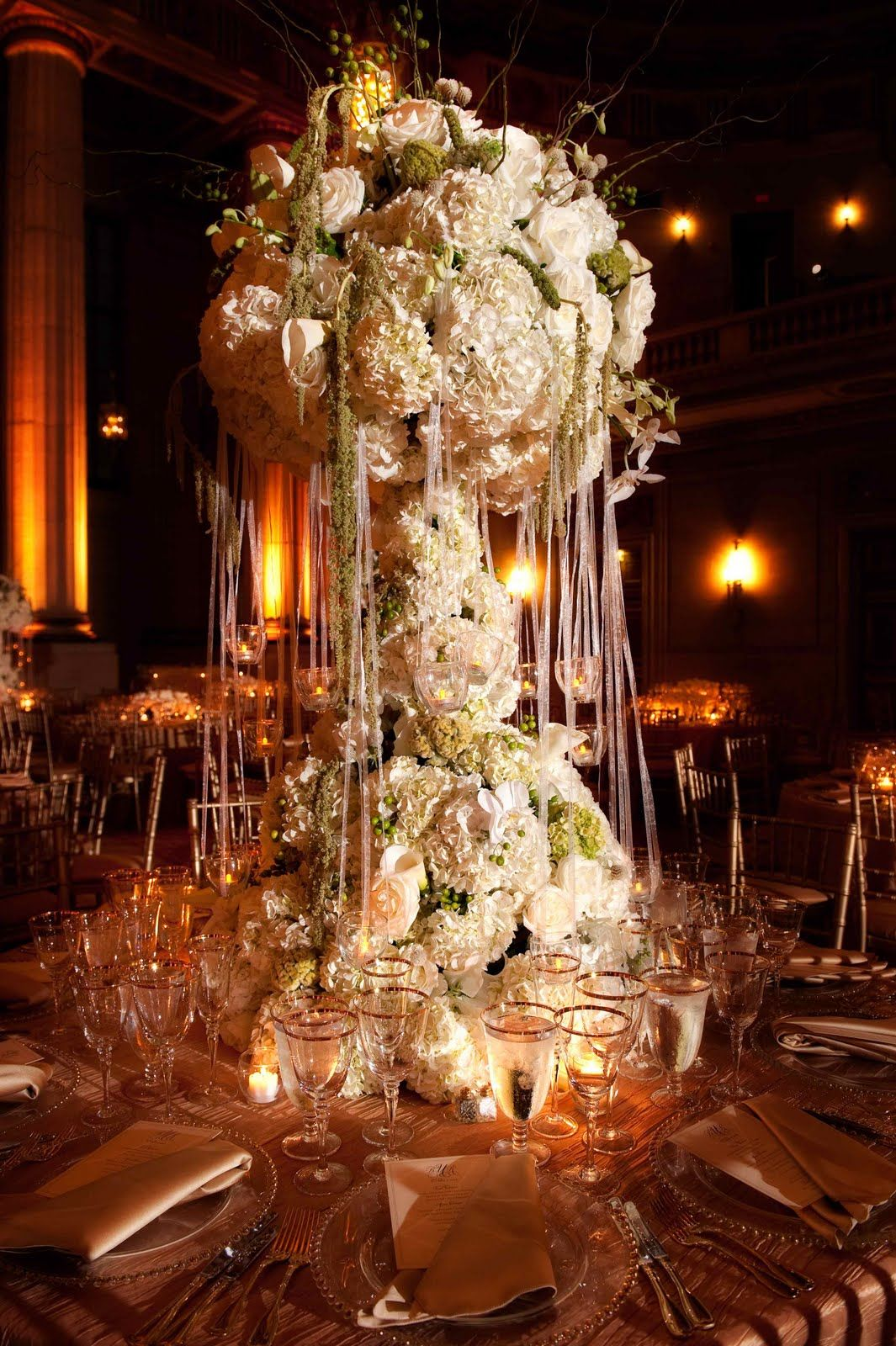 Decorations Tips Tall Wedding Centerpieces With Pink Flowers Ribbon And Other Accents Designing On A Budget