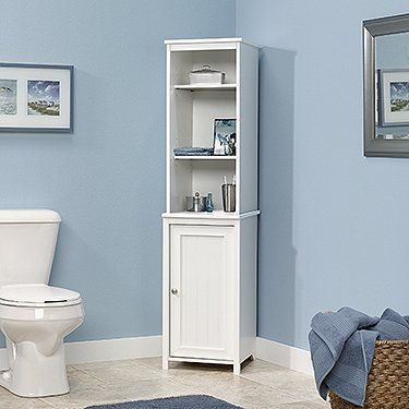 135 Bath Collection Linen Storage Tower Soft White Finish Sauder Pen Shelving Feature With Images Linen Storage Cabinet Tall Bathroom Storage Bathroom Storage Cabinet